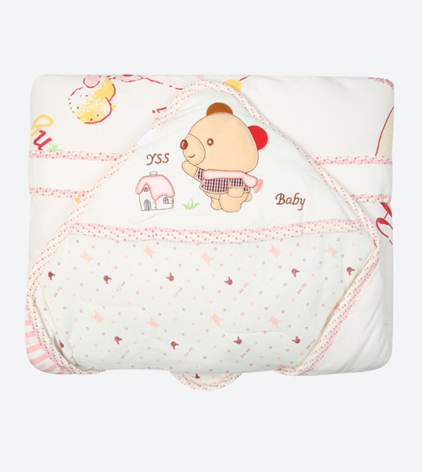 Bear Printed Water Proof Sheet - Pink