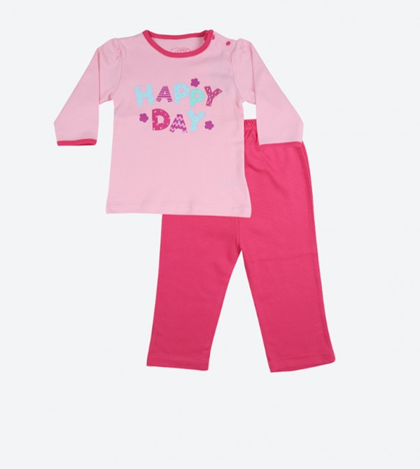 Happy Day Graphic Printed Pajama Set - Pink