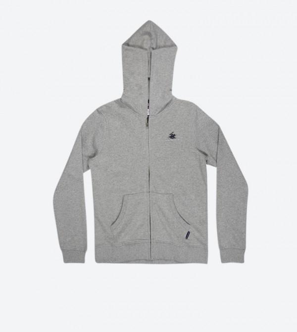 2fa2bb8ab Beverly Hills Polo Club Zip Closure Long Sleeve Hoodie - Grey BP B6120