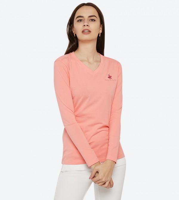 9a0d5abc5696 Beverly Hills Polo Club Logo Details Long Sleeve V-Neck T-Shirt - Light Pink