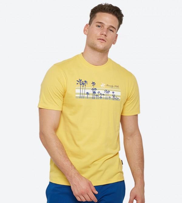 b47044bd8 Home; Palm Tree Lane Graphic Short Sleeve T-Shirt - Yellow BP M1443.  BP-M1443-BP-UTOPIA