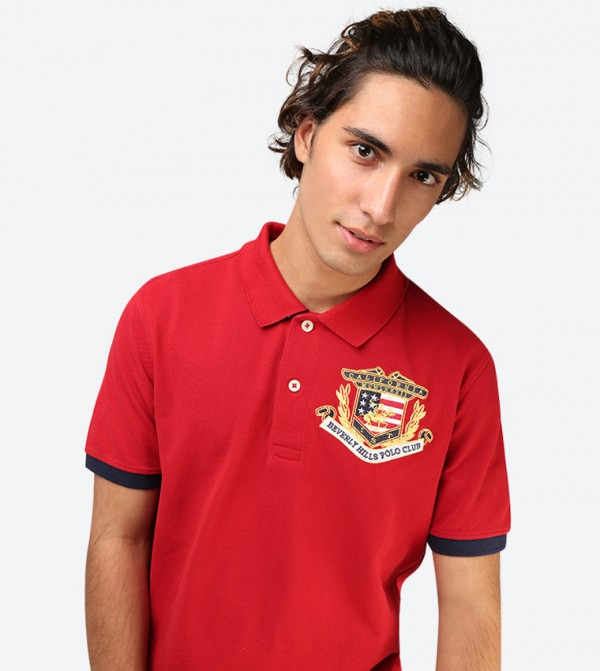 0f079734d Classic Collared Short Sleeve Polo Shirt - Red BP M2741