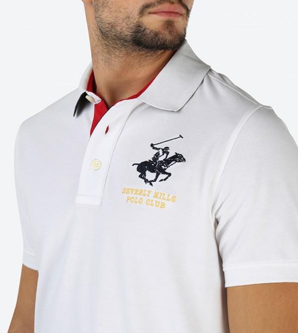 520f735f Embroidered Brand Logo Polo Shirt White