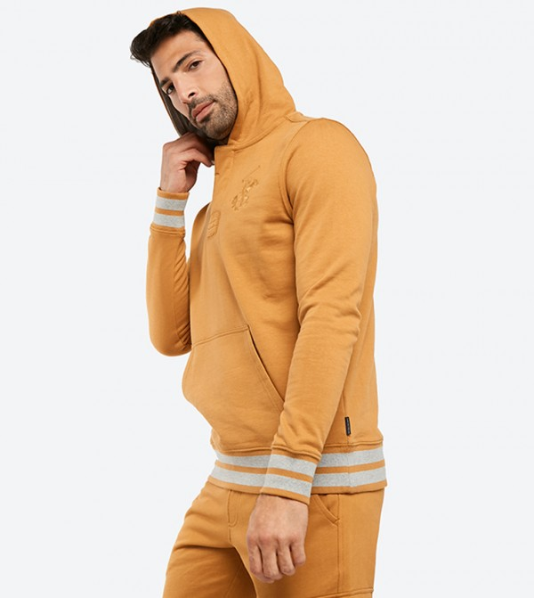 6b94035fca1e Kangaroo Pocket Closure Long Sleeve Hoodie - Brown BP M6462