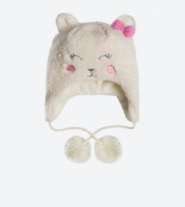 94868ed77335d SMYK Bow Details Bear Shaped Winter Cap - Off White