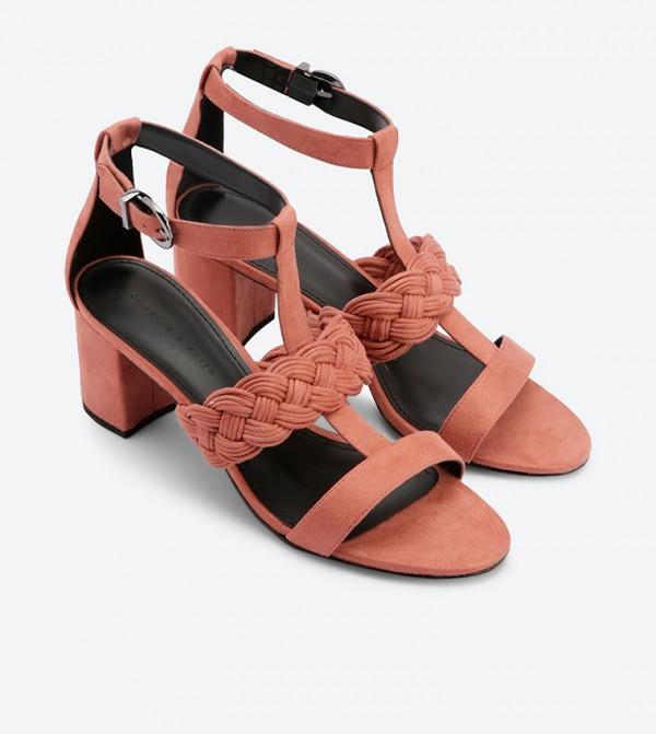 ebe293d2c677 Braid Detail Caged Heeled Sandals - Pink CK1-60050784