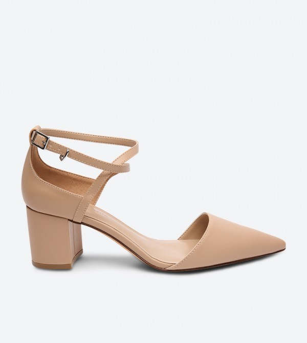 ... Criss Cross Pointed Mid Heel Sandals - Taupe. CK1-60361080-CKTAUPE