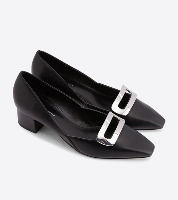 6eb69587412 Metal Accent Block Heel Square Toe Pumps - Black