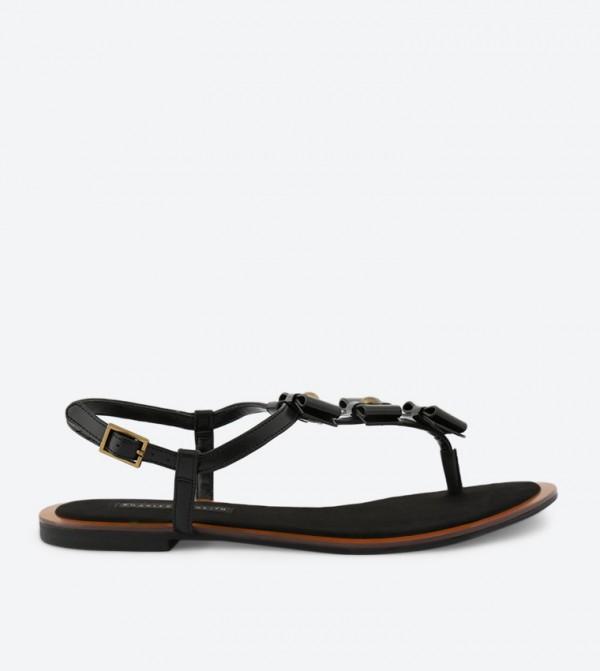 7b3e0ae1e Charles   Keith Bow Thong Sandals - Black