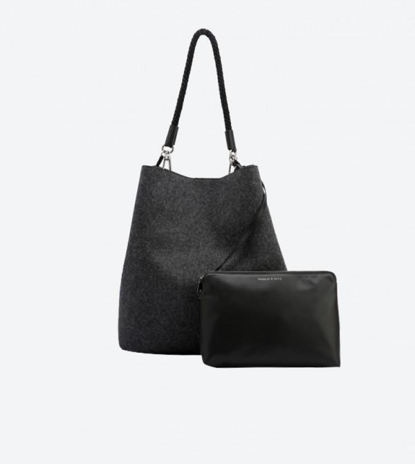 d3a730d24b Tassel Details Oversized Bucket Bag - Black CK2-10670890