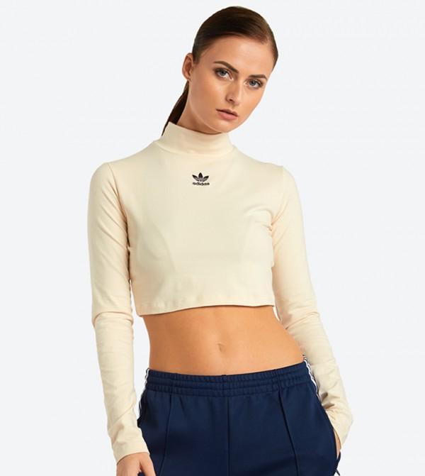 d4eeb50e576 Adidas Originals Long Sleeve Styling Complements Crop Top - Beige DH2761