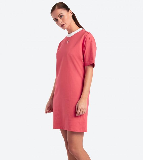 1d6a965ce38 Adidas Originals Short Sleeve Trefoil Dress - Pink DH3195