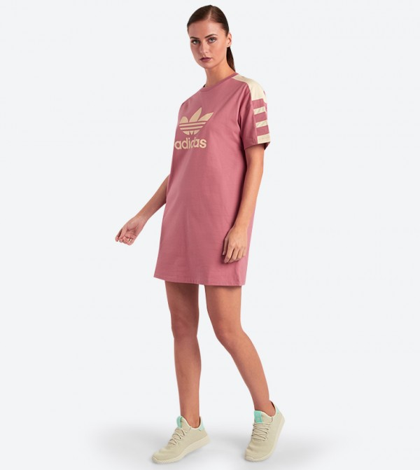 1a34e1e9574 Short Sleeve Trefoil Tee Dress - Pink DH4181