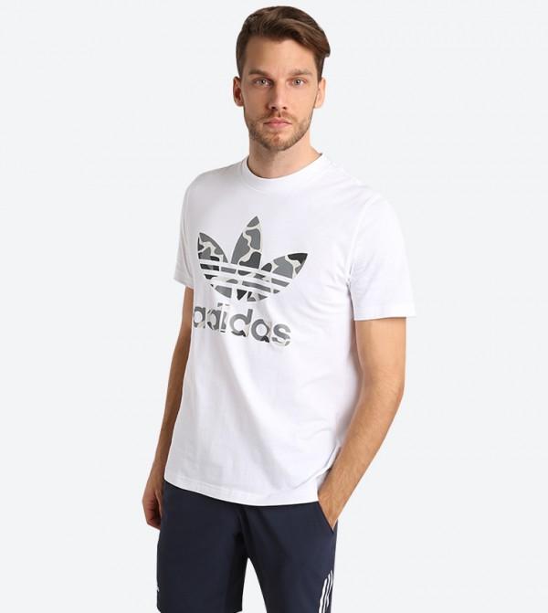 d68e9f93 Adidas Originals Short Sleeve Camouflage Trefoil T-Shirt - White DH4767