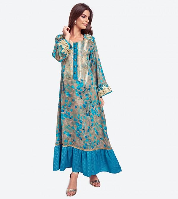 05eec0f26 Floral And Polka Dot Printed With Stripe Metallic Thread Jalabiya - Blue
