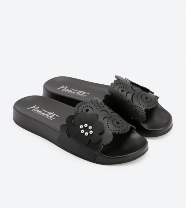 6edc9e95351f Maria Flower Soccer Slides - Black DSW-426639