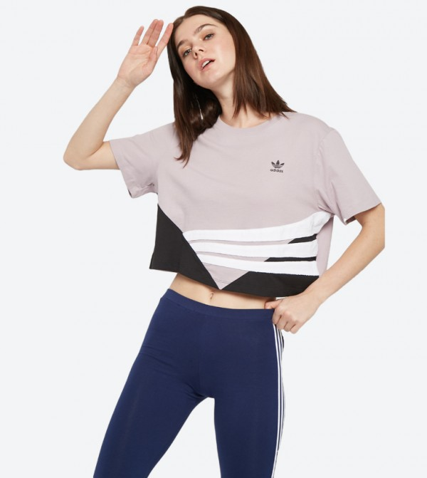 2f066bb8 Adidas Originals Short Sleeve Graphic Cropped T-Shirt - Pink DU9539