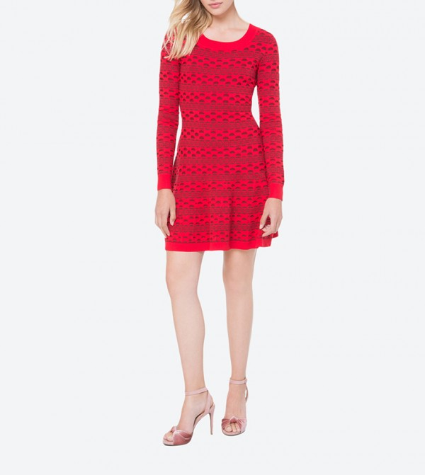 0f052d461eb Juicy Couture Floral Stripe Fit   Flare Sweater Dress - Red FW17-WFSD85772