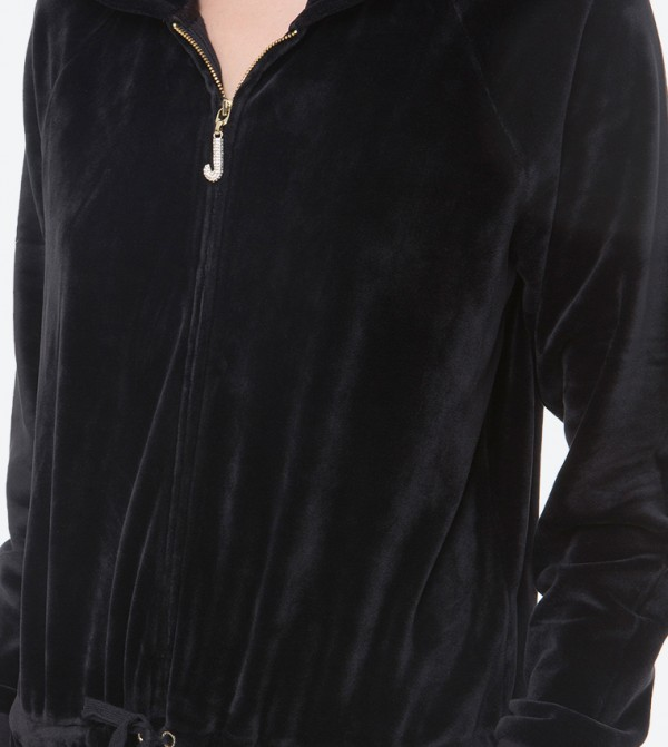 b0284cd79a53 Ultra Luxe Velour Hooded Jumpsuit - Black FW17-WTKR86110