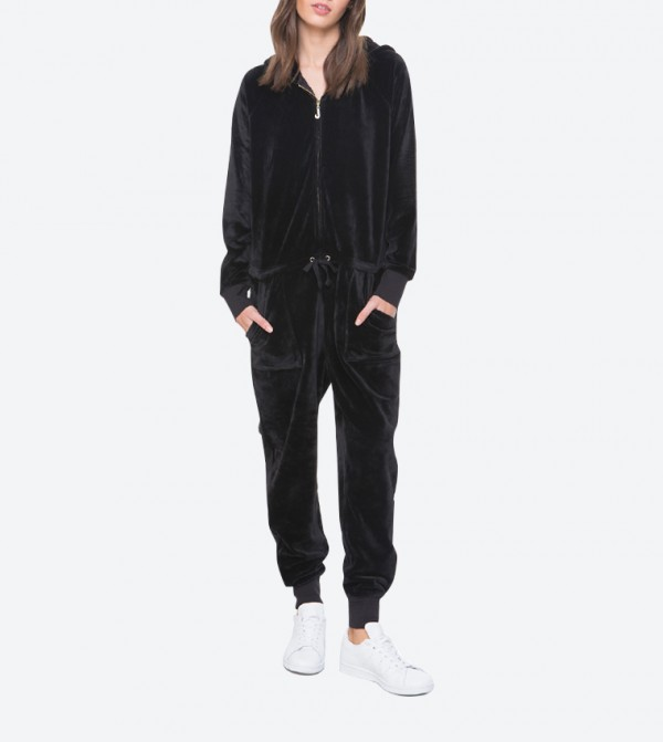 ba4d87ebe843 Home  Ultra Luxe Velour Hooded Jumpsuit - Black FW17-WTKR86110.  FW17-WTKR86110-PITH-BLACK
