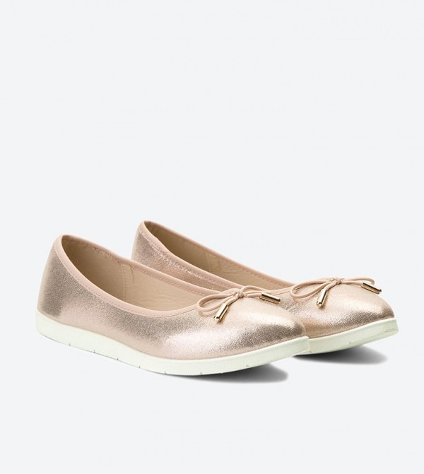 4ac00a40c Lace Bow Detail Almond Toe Ballerinas - Pink