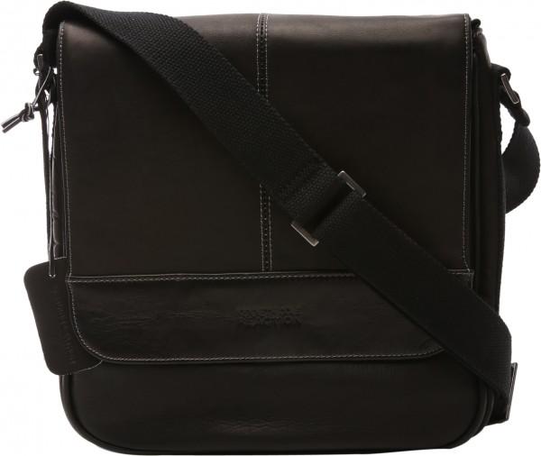 Colombian Leather Collection  Black Messenger Bag-KC529225