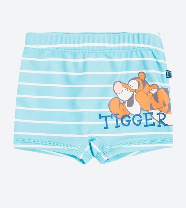 5e3b2eb38b SMYK Tigger Print Striped Swim Shorts - Blue LCB1603214