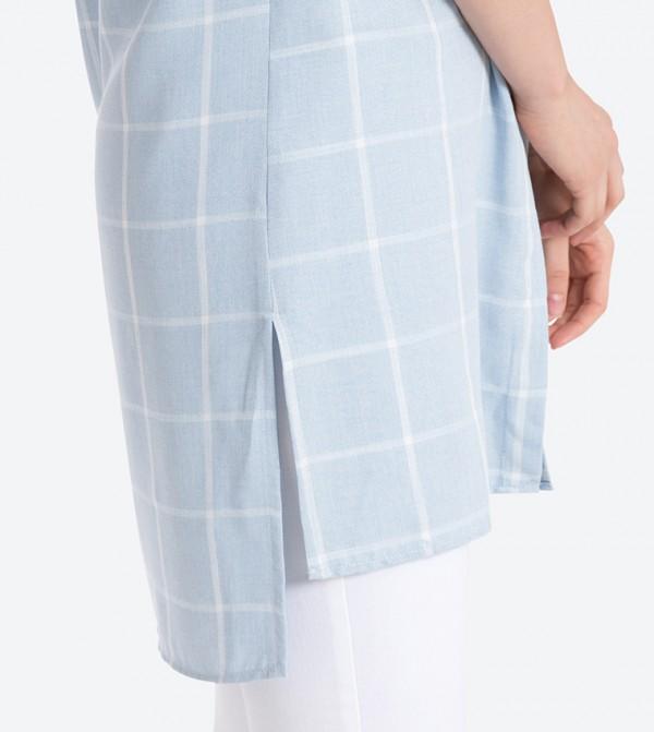 7baa2bb9ff8 Checked Long Sleeve Tunic Top - Blue LCW-8S2701Z8