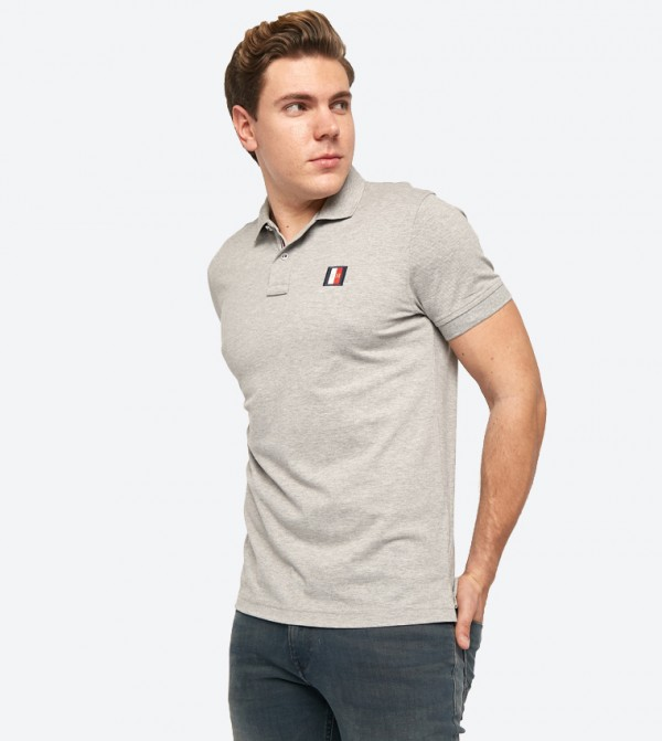 c7d3f25c78e Tommy Hilfiger Short Sleeve Classic Collared Icon Mini Badge Polo Shirt -  Grey