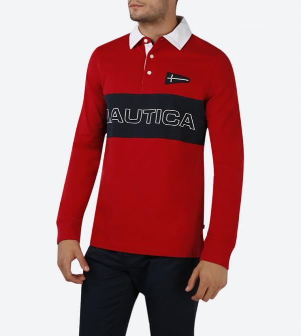 2beb2930 Nautica Heritage Chest Logo Long Sleeve Polo Shirt - Red