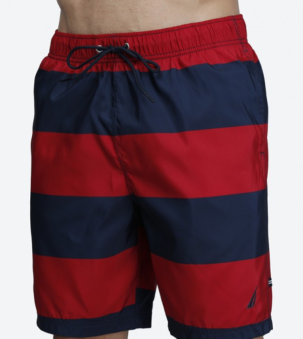 563e0dc628 Quick Dry Wide Stripe Drawstring Swim Shorts - Red N T71634