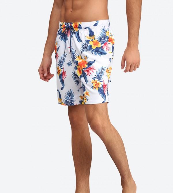c257e407034ca Hibiscus Floral Printed Swim Shorts - White N T82100