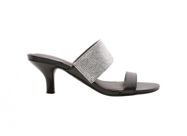 Flashy Black Mid Heel