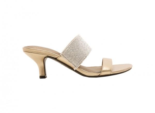 Flashy Gold Mid Heel