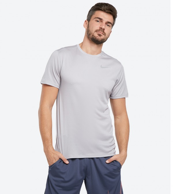 big sale 5a0f5 6265d Nike Short Sleeve Dri Fit Breathe Running T-Shirts - Grey NK904634-027