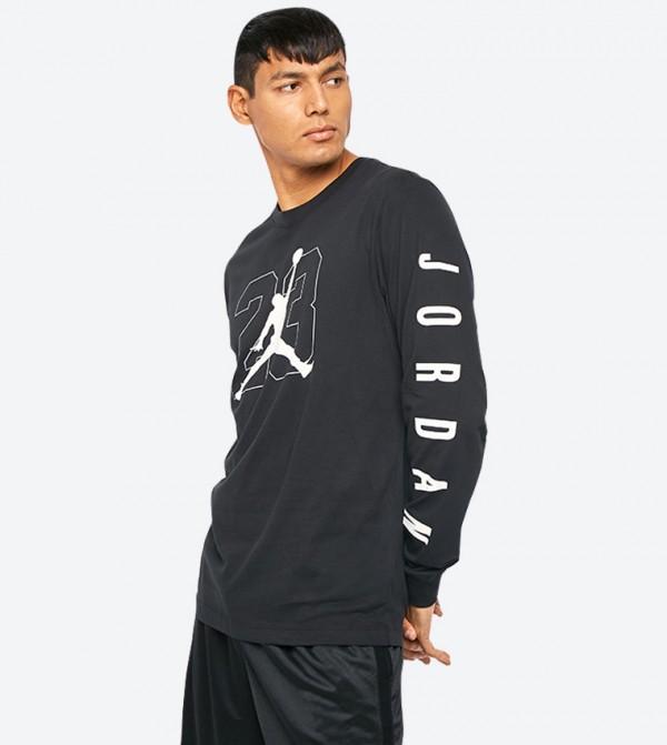 ae3927ae2 Jump Man Graphic Printed Long Sleeve T-Shirt - Black