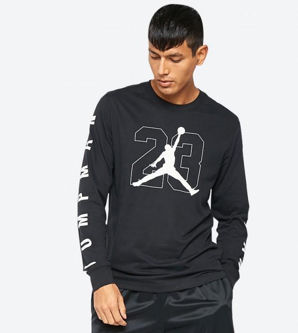 775735987 Home; Jump Man Graphic Printed Long Sleeve T-Shirt - Black. NKAQ3701-010- BLACK