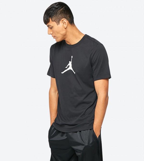 ef7590520 Nike Jump Man Printed Round Neck Short Sleeve T-Shirt - Black