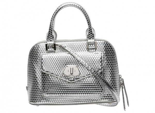 Nine West Rock And Lock Handbag Mini Satchel Sm For Women - Man Made Metalic Silver