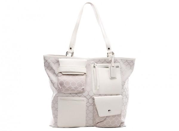 Nine West Pop Pocket Handbag Tote Lg For Women - Fabric White