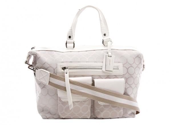 Nine West Pop Pocket Handbag Satchel Md For Women - Fabric White