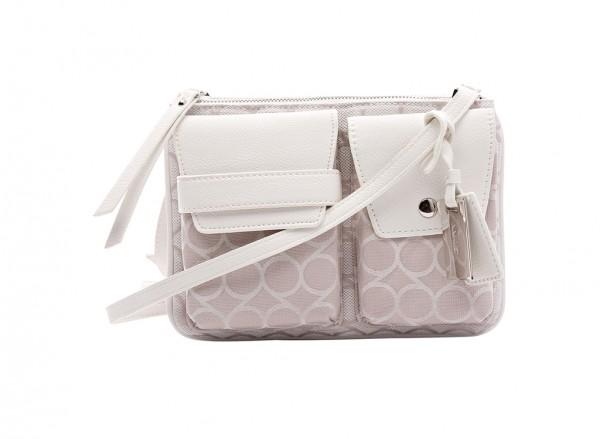 Nine West Pop Pocket Handbag Cross Body Md For Women - Fabric White-NW60402176-BEIGE