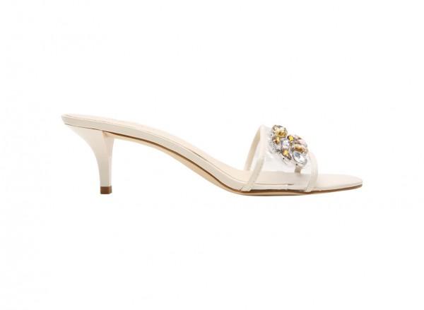 Luvalways White Mid Heel