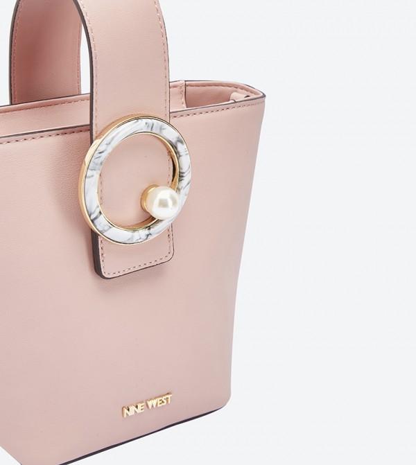 df3e4ada8cdc Fatinah Marbled Pearl Hardware Detail Tote Bag - Pink