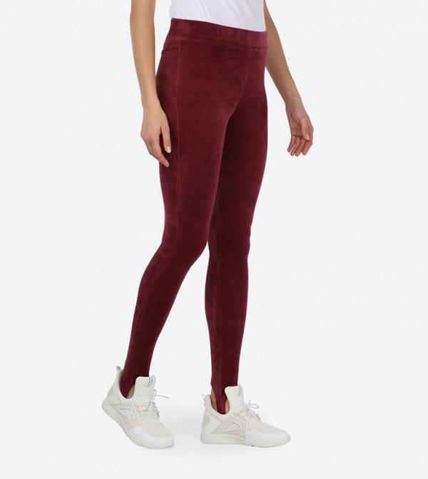 da925a587aff1 Stretch Velour Stirrup Leggings - Red