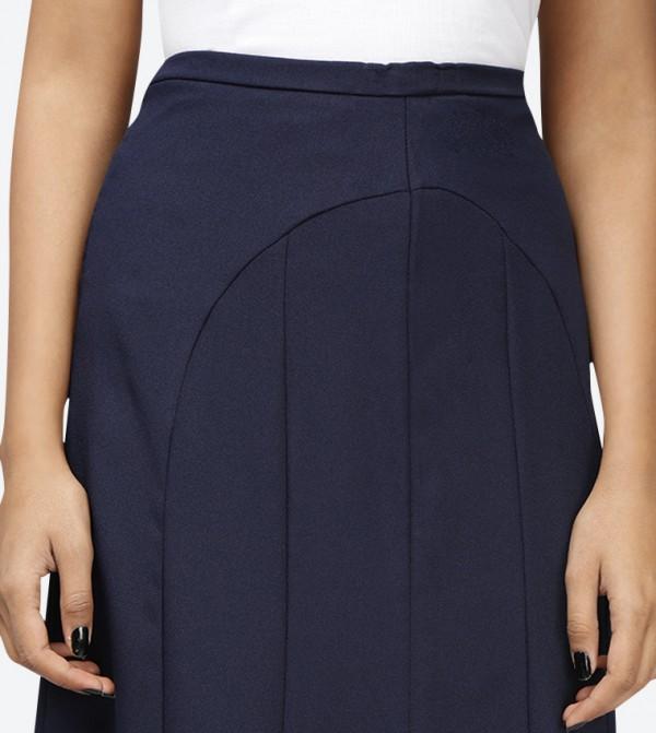 7e2600bcb9da Elastic Waist Crepe Long Skirt - Blue SED-5046