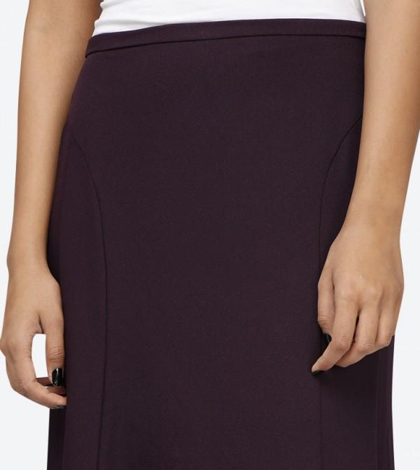 376f1b22e160 Elastic Waist Crepe Long Skirt - Dark Purple SED-5046