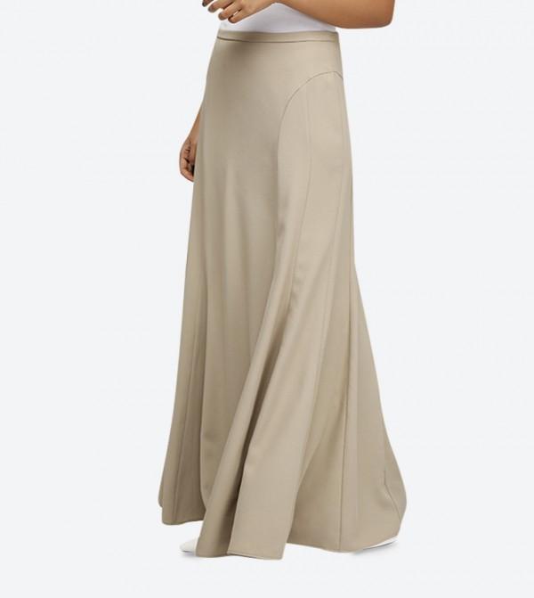 2bbc32928a22 Elastic Waist Crepe Long Skirt - Tan SED-5046