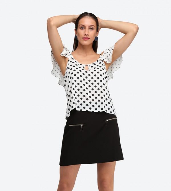 4ae9a947f045c Home  Cold Shoulder Polka Dot Printed Top - White TCLSS18LO0006.  TCLSS18LO0006-ECRU