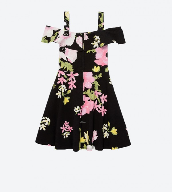 ba13490092 The Children s Place Cold Shoulder Floral Flounce Ponte Dress - Black  TCP2096328